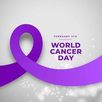 Fondo de cinta púrpura día mundial del cáncer