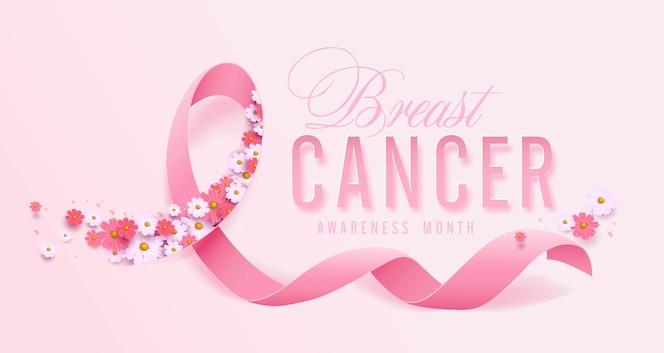 Fondo de cinta rosa y flor de mes de concientización sobre el cáncer de mama