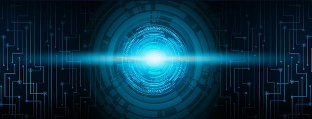 Fondo de circuito cibernético de bola de ojo azul