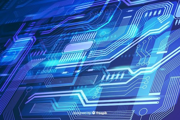 Fondo de circuitos realistas azules