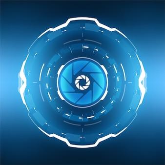 Fondo circular abstracto de tecnología futurista.
