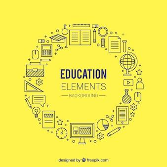 Fondo circular amarillo de concepto de educación