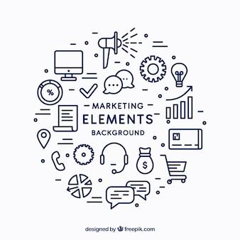 Fondo circular de elementos de marketing