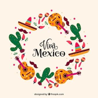 Fondo circular de lettering de viva mexico