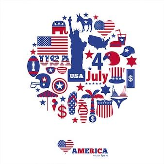 Fondo de círculo formado por elementos del día de independencia americana