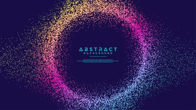 Fondo de círculo de partículas de flujo de líquido abstracto dinámico.