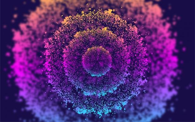 Fondo de círculo de partículas de flujo de líquido abstracto