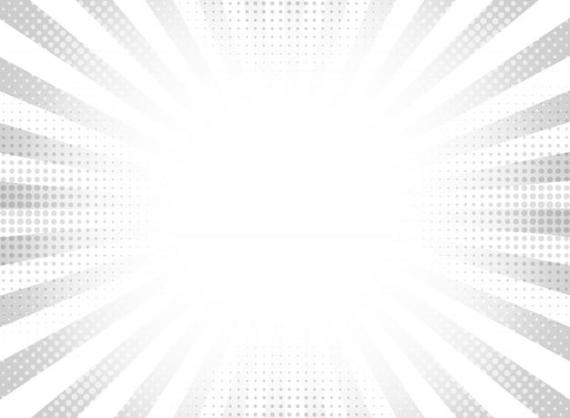 Fondo de círculo de rayos de semitono gris abstracto.
