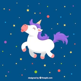 Fondo de círculos de colores y estrellas con unicornio