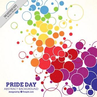 Fondo de círculos coloridos del día del orgullo