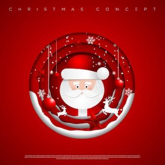 Fondo de círculos de feliz navidad y año nuevo con copos de nieve, estrellas, ciervos y árbol de navidad hecho de capas de papel recortables. .