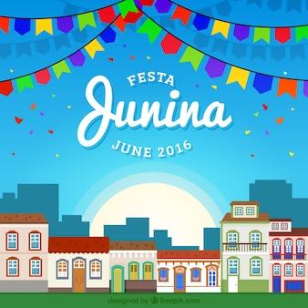 Fondo de ciudad adornada en fiesta junina