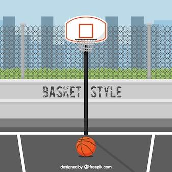 Fondo de ciudad con canasta de baloncesto