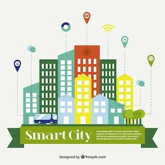 Fondo de ciudad en diseño plano con localizadores