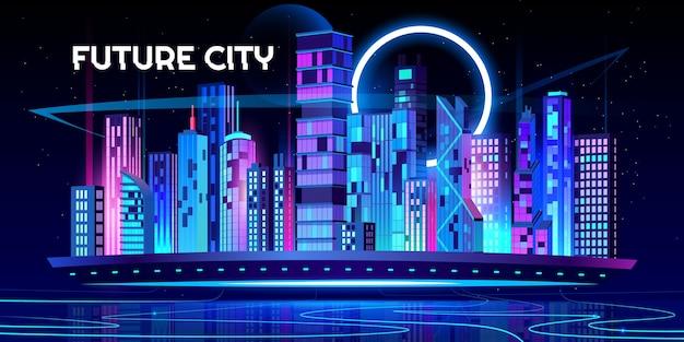 Fondo de ciudad futura de dibujos animados