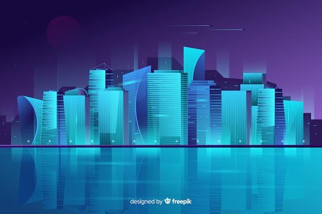 Fondo de ciudad futurista de noche