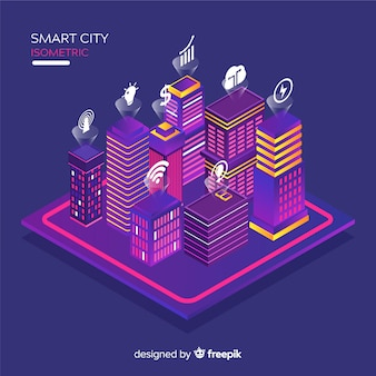 Fondo ciudad inteligente isométrico