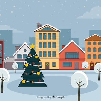 Fondo de ciudad de navidad de diseño plano