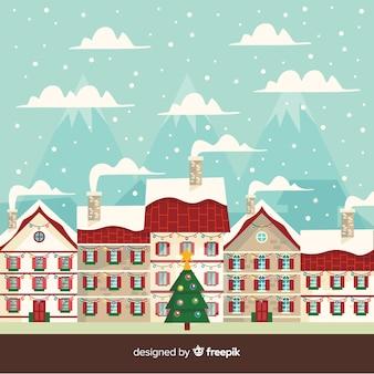 Fondo de ciudad de navidad