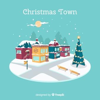 Fondo de ciudad navideña en diseño plano