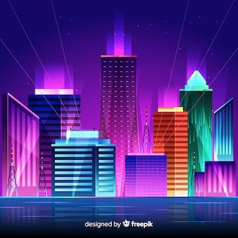 Fondo ciudad de noche futurista