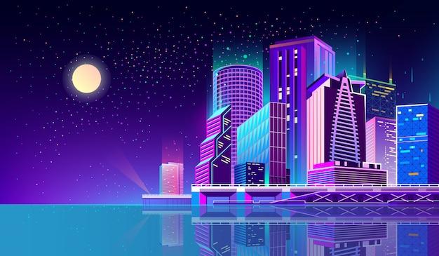 Fondo con ciudad de noche en luces de neón