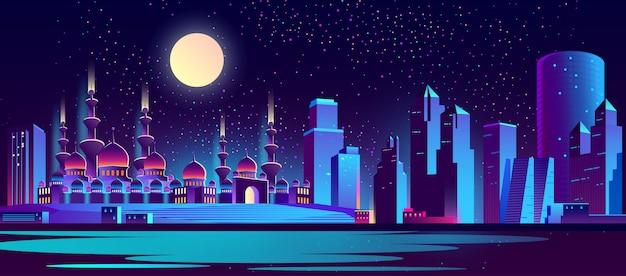 Fondo de la ciudad de noche con mezquita musulmana