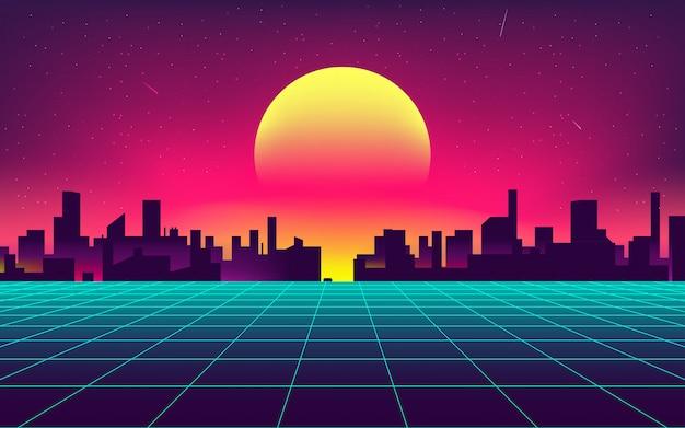 Fondo de ciudad de noche de synthwave