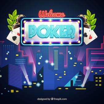 Fondo de ciudad nocturna con póker