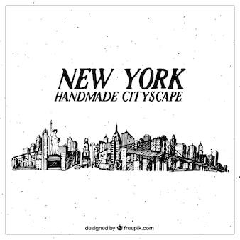 Fondo de ciudad de nueva york dibujado a mano