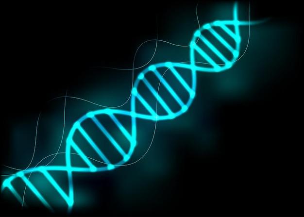 Fondo claro del resplandor azul de la secuencia de adn.
