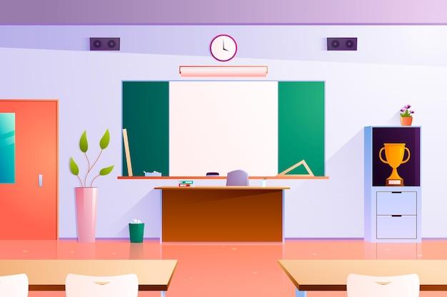 Fondo de clase de escuela de diseño plano para videoconferencia