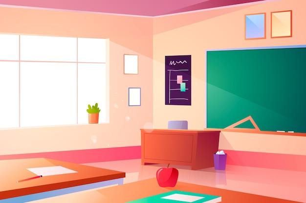 Fondo de clase de escuela vacía de diseño plano para videoconferencia