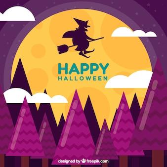 Fondo clásico de halloween con bruja volando