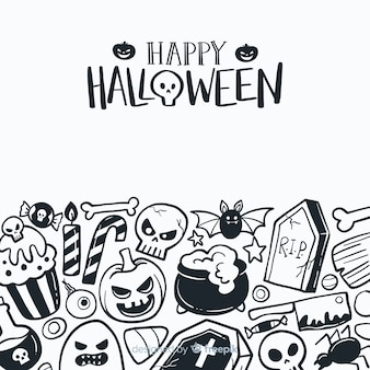Fondo clásico de halloween dibujado a mano
