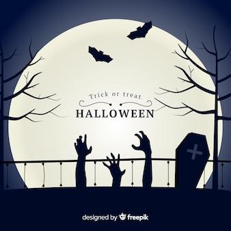 Fondo clásico de halloween con diseño plano