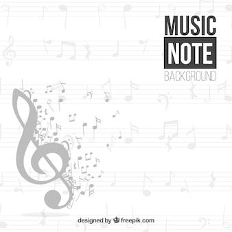 Fondo de clave de sol  y notas musicales