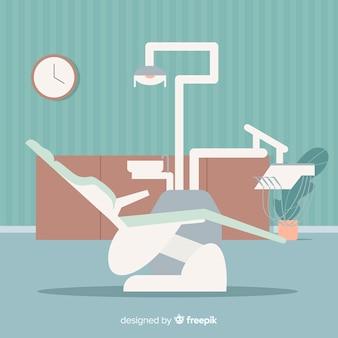 Fondo de clínica dental en diseño plano