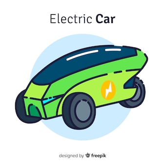 Fondo coche eléctrico dibujado a mano