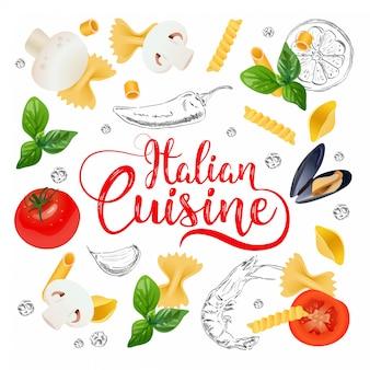 Fondo de la cocina italiana.
