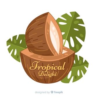 Fondo coco con hojas dibujado a mano