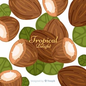 Fondo cocos dibujados a mano