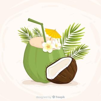 Fondo cóctel de coco dibujado a mano