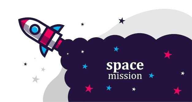 Fondo de cohete de misión espacial