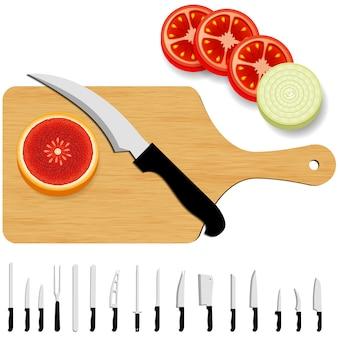 Fondo con colección de cuchillos