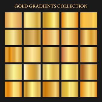Fondo de colección de degradados de oro amarillo transparente plantilla de muestras metálicas de oro