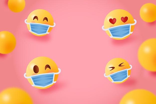 Fondo con una colección de emoticonos realistas con máscara médica