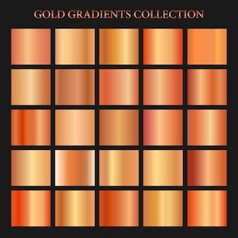 Fondo de colección de gradientes de cobre transparente o rosa dorado plantilla de muestras metálicas doradas