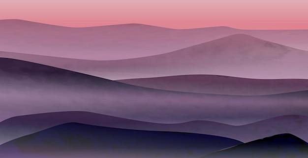 Fondo con colinas y montañas al amanecer en suaves tonos azul y rosa para colocar en banners web y en diseño de interiores
