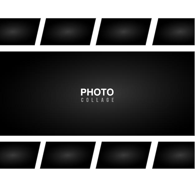 Fondo de collage de marco de foto negro
